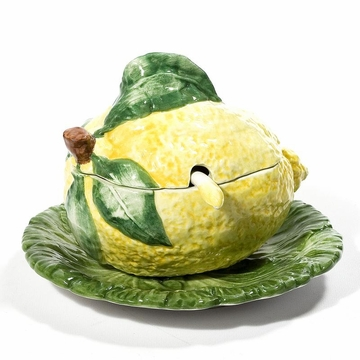 Intrada Italy Lemon Sauce Boat with Plate 4''H x 6''D