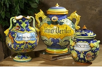 Intrada Italy Majolica Dragon & Pomegranate Biscotti Jar