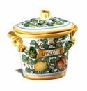 "Intrada Italy Oval Biscotti Lemon Cookie Jar 11""H"