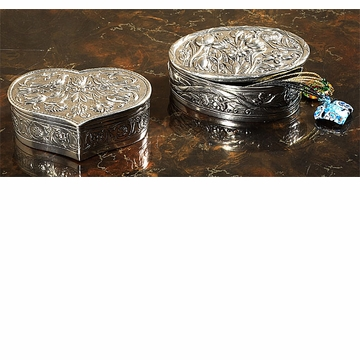 Intrada Italy Pewter Oval Box with Flower Design