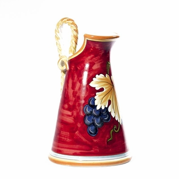 Intrada Italy Pitcher with Rope Handles 15'' Red