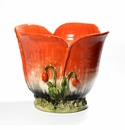 """Intrada Italy Poppies Red Planter 10""""H x 12.5""""W"""
