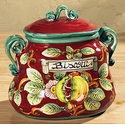 Intrada Italy Red Pomegranate Biscotti Jar with Two Handles