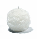 "Intrada Italy Rose Ball White Candle 4""D x 4""H"