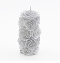 "Intrada Italy Rose Pillar Silver Candle 6""H x 3""W"