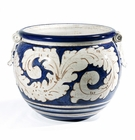 "Intrada Italy Round Blue Planter 12""H x 16""D"