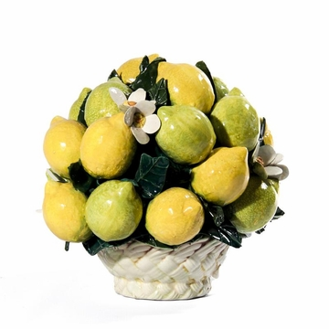 Intrada Italy Round Lemon Basket with Flowers 11''H x 10''D