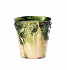 "Intrada Italy Square Flower Pot Green 6.5""H x 6""W"