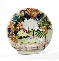 """Intrada Italy Toscana 16"""" Round Wall Plate with Tuscan Scene"""