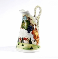 """Intrada Italy Toscana Handpainted 15"""" Pitcher with Rope Handle"""