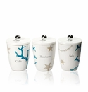 Intrada Italy Vivere Coral Set of 3 Square Canisters
