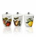 Intrada Italy Vivere Fruit Set of 3 Square Canisters