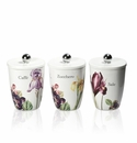 Intrada Italy Vivere Iris Set of 3 Square Canisters