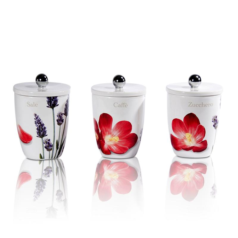 Poppy Hill Tuscan Kitchen: Intrada Italy Vivere Poppy Set Of 3 Square Canisters