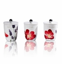 Intrada Italy Vivere Poppy Set of 3 Square Canisters