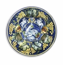 """Intrada Italy Wall Plate with Cherubs & Grapes Blue 21""""D"""