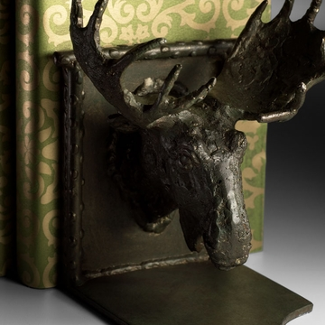 Iron Moose Head Bookends by Cyan Design