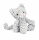 Jellycat Squiggle Kitty Small Soft Gray Cat Stuffed Animal Toy