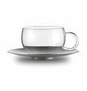 Jenaer Glass Good Mood Cup with Stainless Steel saucer 6.8oz