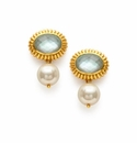 Julie Vos Byzantine Earring Gold Iridescent Aquamarine Blue and Pearl Drop