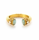 Julie Vos Byzantine Hinged Cuff Gold Iridescent Aquamarine Blue Endcaps with Mother of Pearl and Pearl Accents One Size