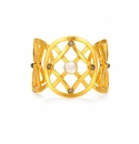 Julie Vos Tivoli Cuff Gold Mother of Pearl with Labradorite Accents