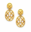 Julie Vos Tivoli Statement Earring Gold Mother of Pearl with Labradorite accents