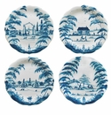 Juliska Country Estate Party Plates Set/4 Spring Gardening Scenes Delft Blue