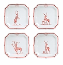 """Juliska Country Estate Reindeer Games Ruby """"Solo Sports"""" (Golf  Tennis  Skiing and Rudolph) Party Plates Set of 4"""