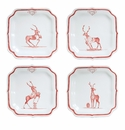"""Juliska Country Estate Reindeer Games Ruby """"Team Sports"""" (Football  Baseball  Soccer and Rudolph) Party Plates Set of 4"""