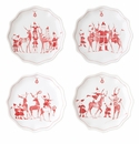Juliska Country Estate Reindeer Games Ruby Tidbit Plates Set of 4