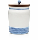 """Juliska Le Panier White Delft 10"""" Canister with Wooden Lid"""