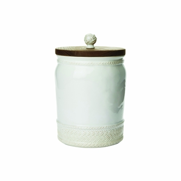 Juliska Le Panier Whitewash 10'' Canister with Wooden Lid