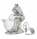 KitchenAid Artisan Design Stand Mixer 5qt. Glass - Sugar Pearl Silver