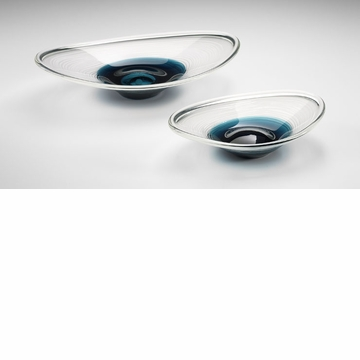 Large Cobalt Oval Art Glass Bowl by Cyan Design