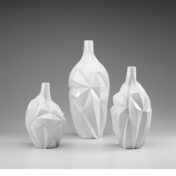 Large Glacier White Resin Vase by Cyan Design