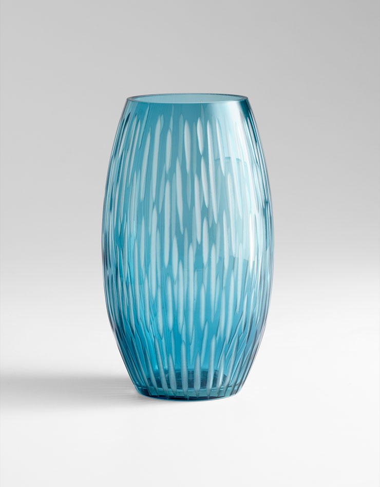 large klein blue glass vase by cyan design. Black Bedroom Furniture Sets. Home Design Ideas