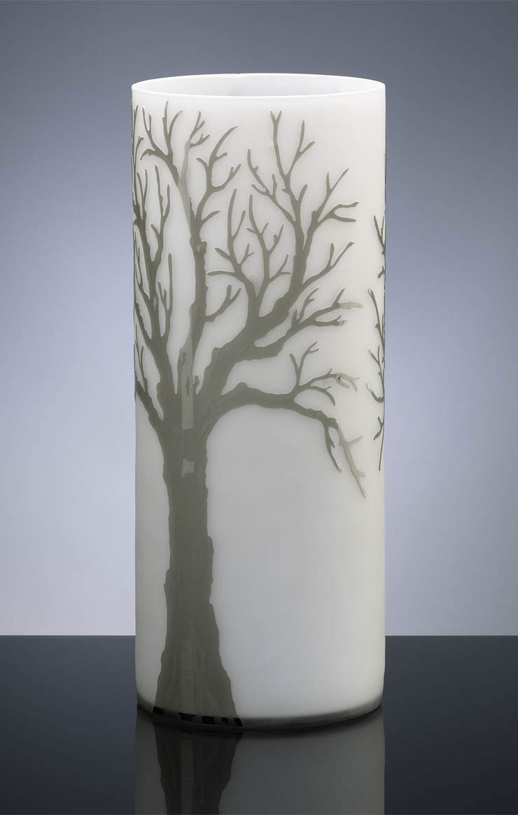 large oak etched glass vase by cyan design. Black Bedroom Furniture Sets. Home Design Ideas