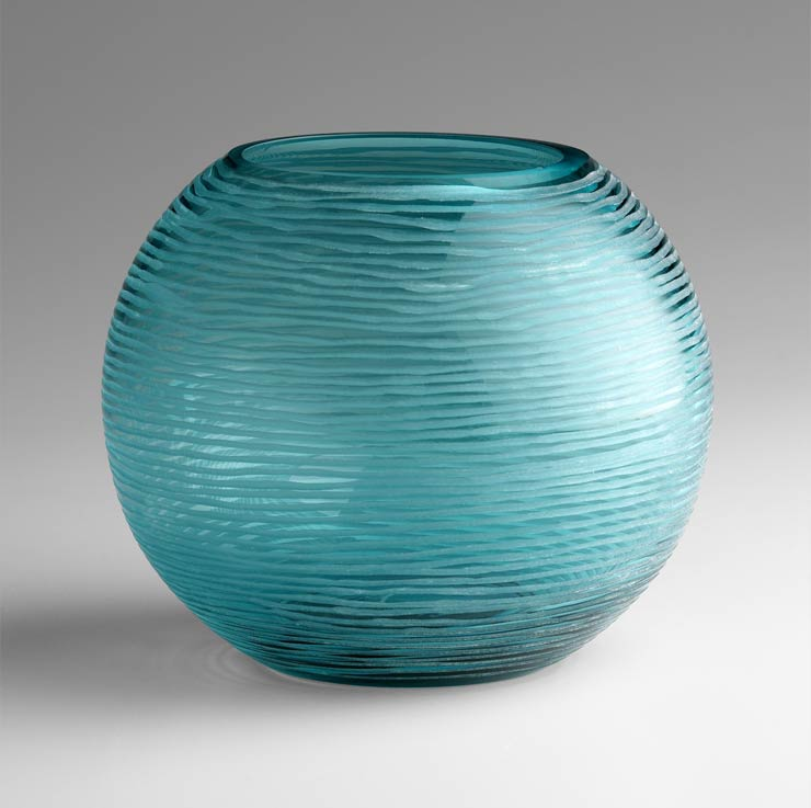 large round aqua glass vase by cyan design. Black Bedroom Furniture Sets. Home Design Ideas