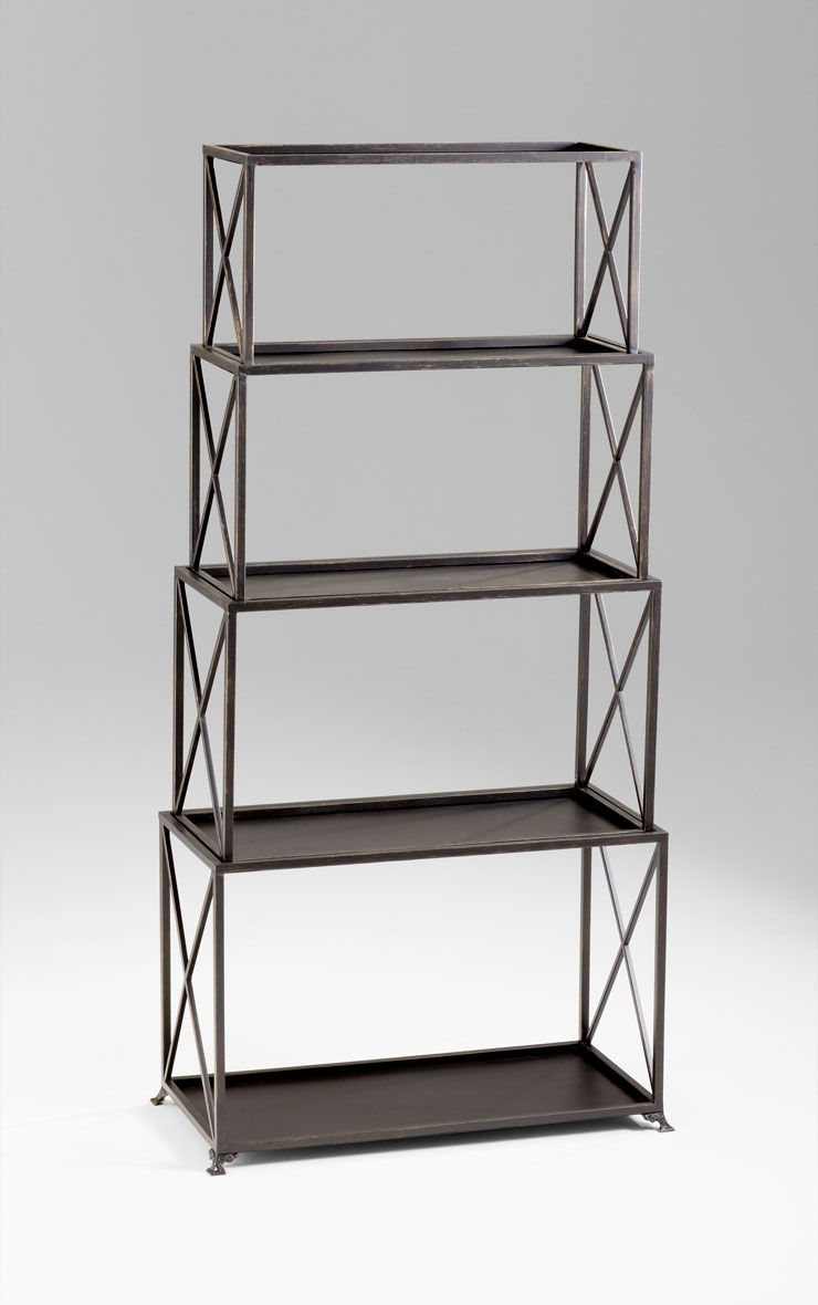 large surrey bronzed iron etagere by cyan design. Black Bedroom Furniture Sets. Home Design Ideas