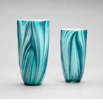Large Turin Turquoise Glass Vase by Cyan Design (Small Vase Sold Separately)