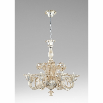 LaScala 8 Light Cognac Glass Chandelier by Cyan Design