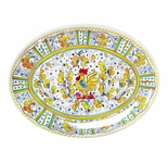 Le Cadeaux Melamine Rooster Yellow Large Coupe Oval Platter