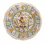 "Le Cadeaux Rooster Yellow 11"" Dinner Plate"