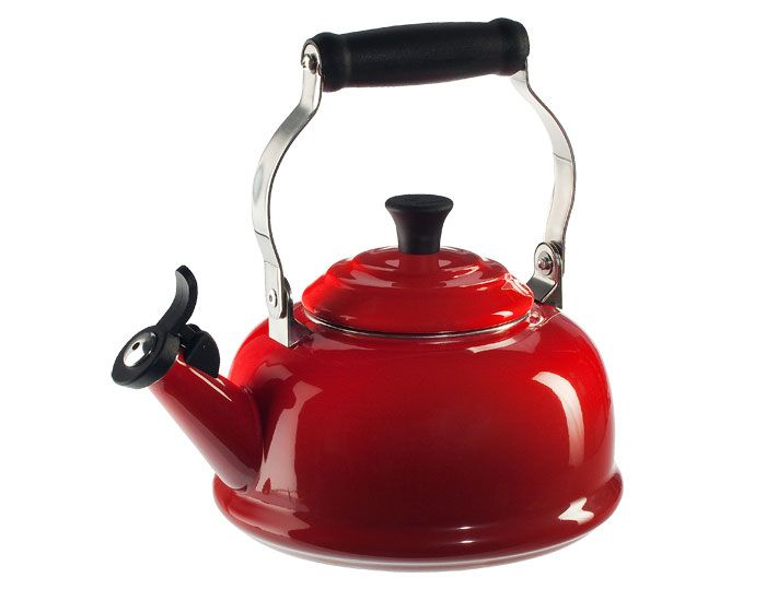 Red Tea Kettle ~ Le creuset whistling tea kettle quart red