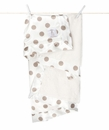 Little Giraffe Luxe Cream New Dot Satin Flax Blanket