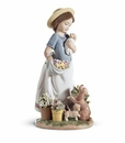 Lladro A Romp In The Garden Girl with Puppies Figurine