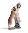 Lladro A Warm Welcome Girl with Golden Retriever Dog Figurine