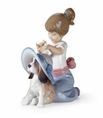 Lladro An Elegant Touch Girl with Dog Wearing Hat Figurine