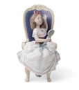 Lladro Awaiting My Sweetheart - Girl Primping Figurine